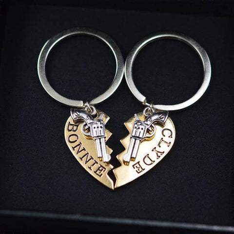Bonnie and Clyde Heart Keychain