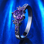 White Gold Plated Amethyst Diamond Ring