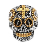 Cross Skull Biker Ring