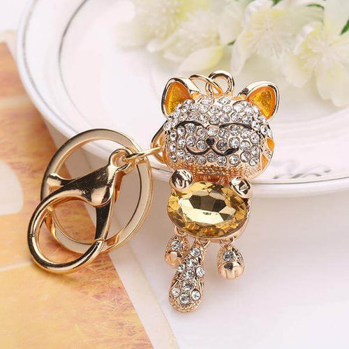 Crystal Cat Keychain Holder