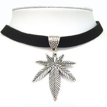 Load image into Gallery viewer, Leather Cord Leaf Choker Necklace