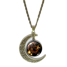 Load image into Gallery viewer, Crescent Moon Zodiac Necklace