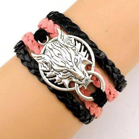 Final Fantasy Wolf Head Charm Bracelet - Black Coral Red