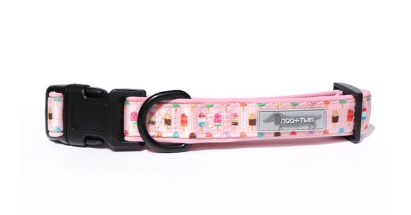 Moo & Twig Comfort Dog Collar - Paddle Pup Pink (L)