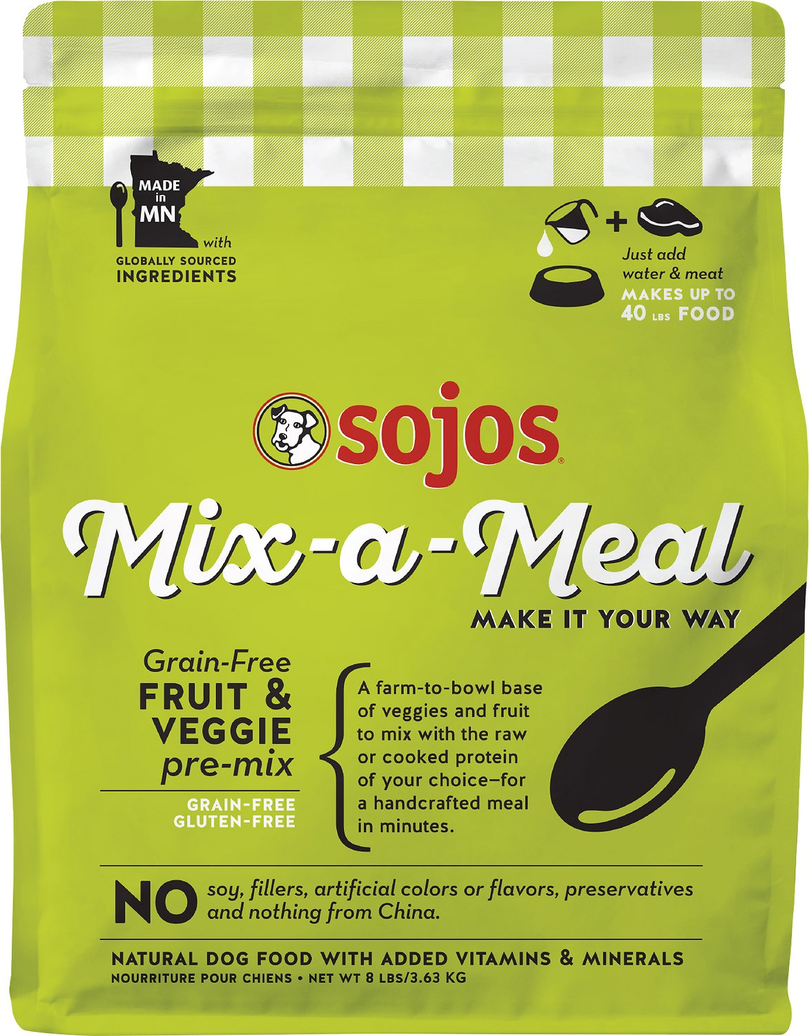 Sojos Mix-a-Meal GF Fruit & Veggie Pre-Mix Dog Food - Add Meat & Water