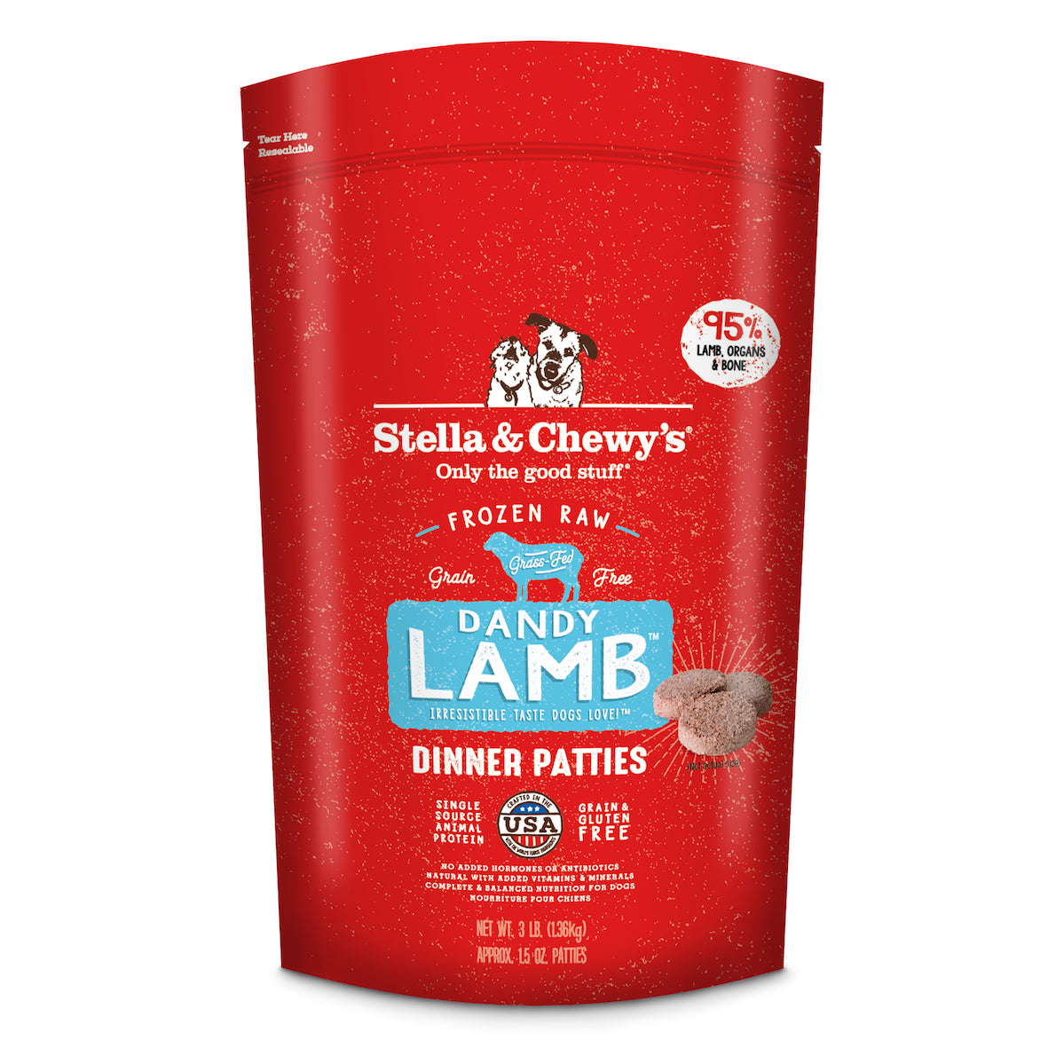 Stella & Chewy's Dog Frozen Raw Dandy Lamb Dinner Patties