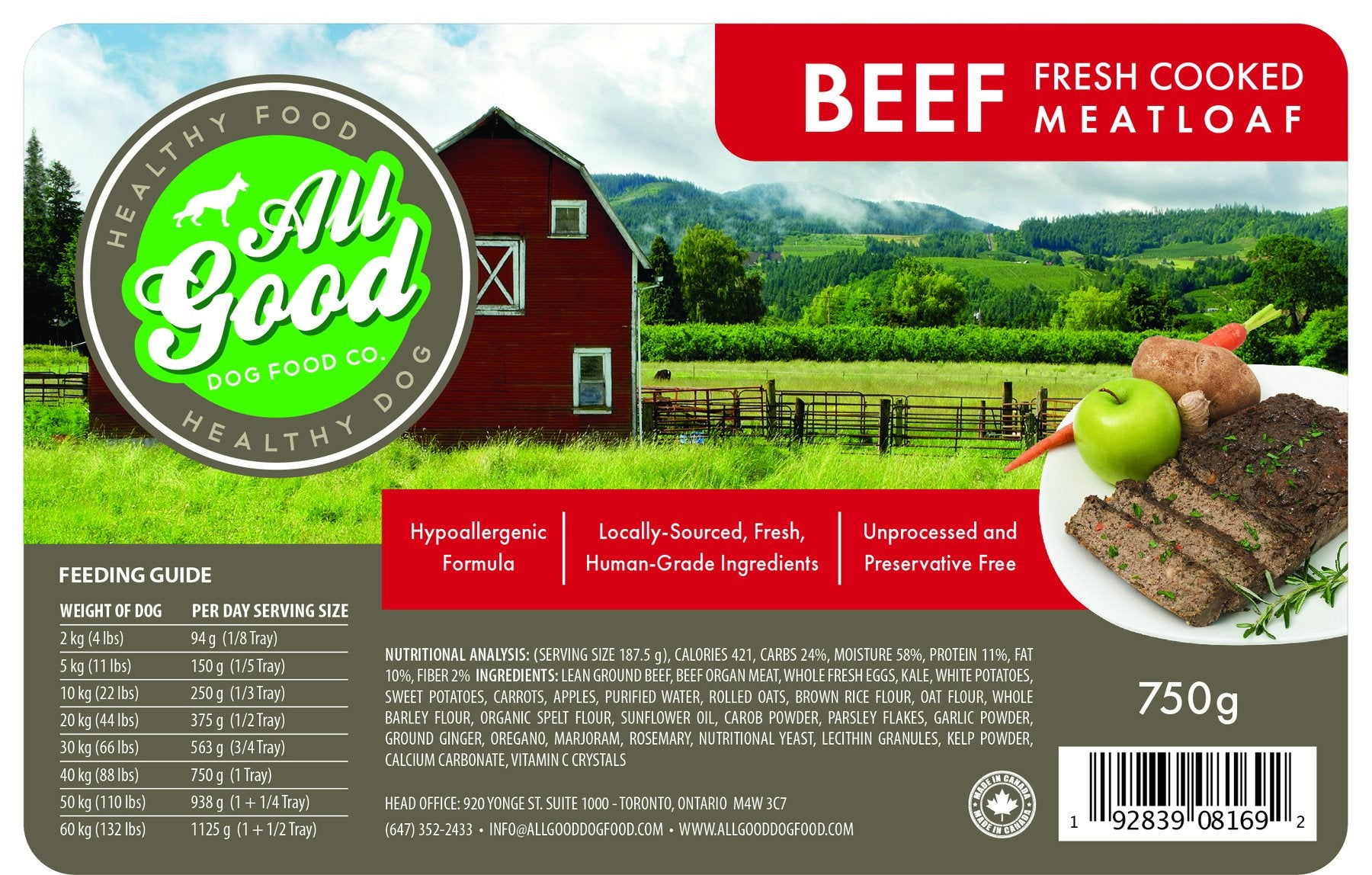 All Good Dog Food - Beef (750g)