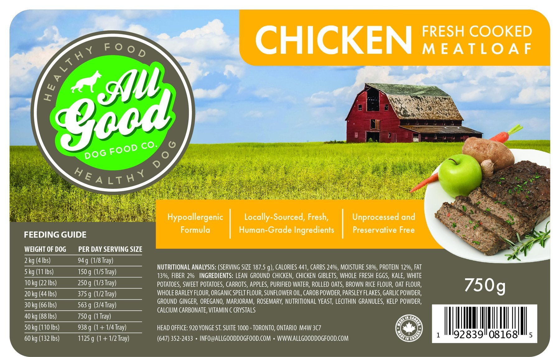 All Good Dog Food - Chicken (750g)