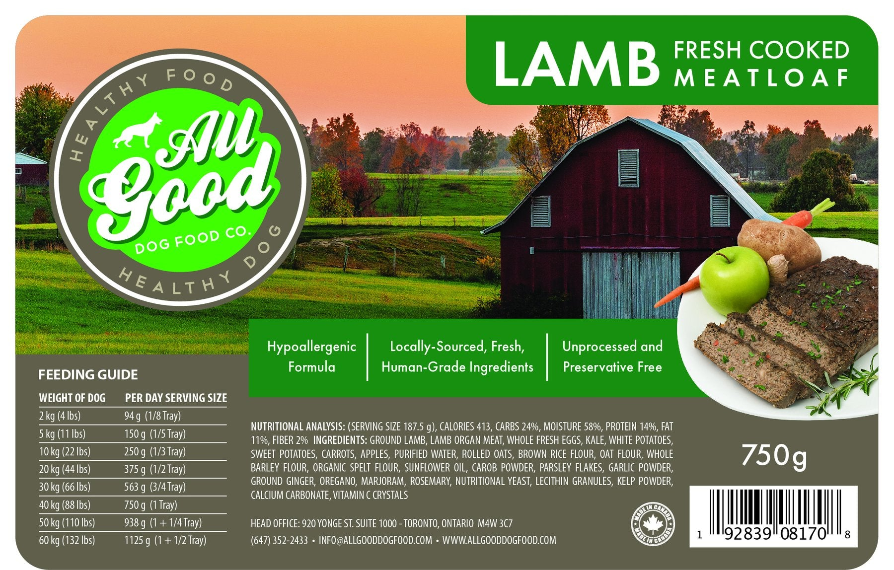 All Good Dog Food - Lamb (750g)