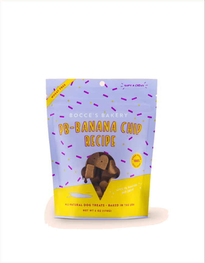 Bocce's Bakery Peanut Butter Banana Chip Recipe Dog Treats (6oz)