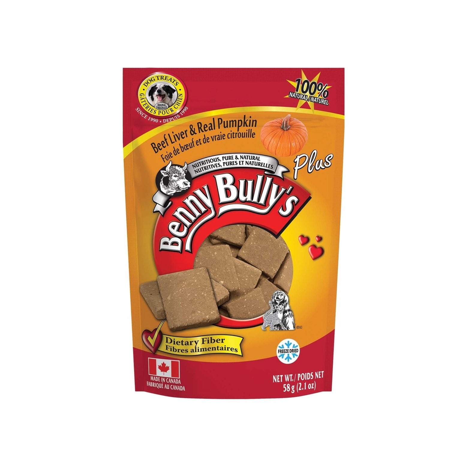 Benny Bully's Beef Liver plus Real Pumpkin Dog Treats (58g)