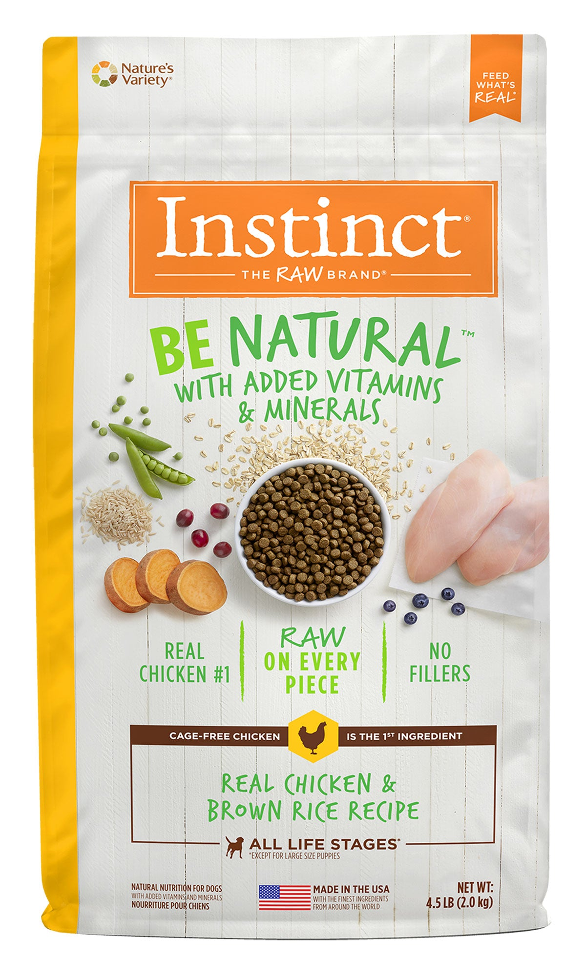 Instinct Be Natural Chicken & Brown Rice Dog food (2kg/4.5lb)