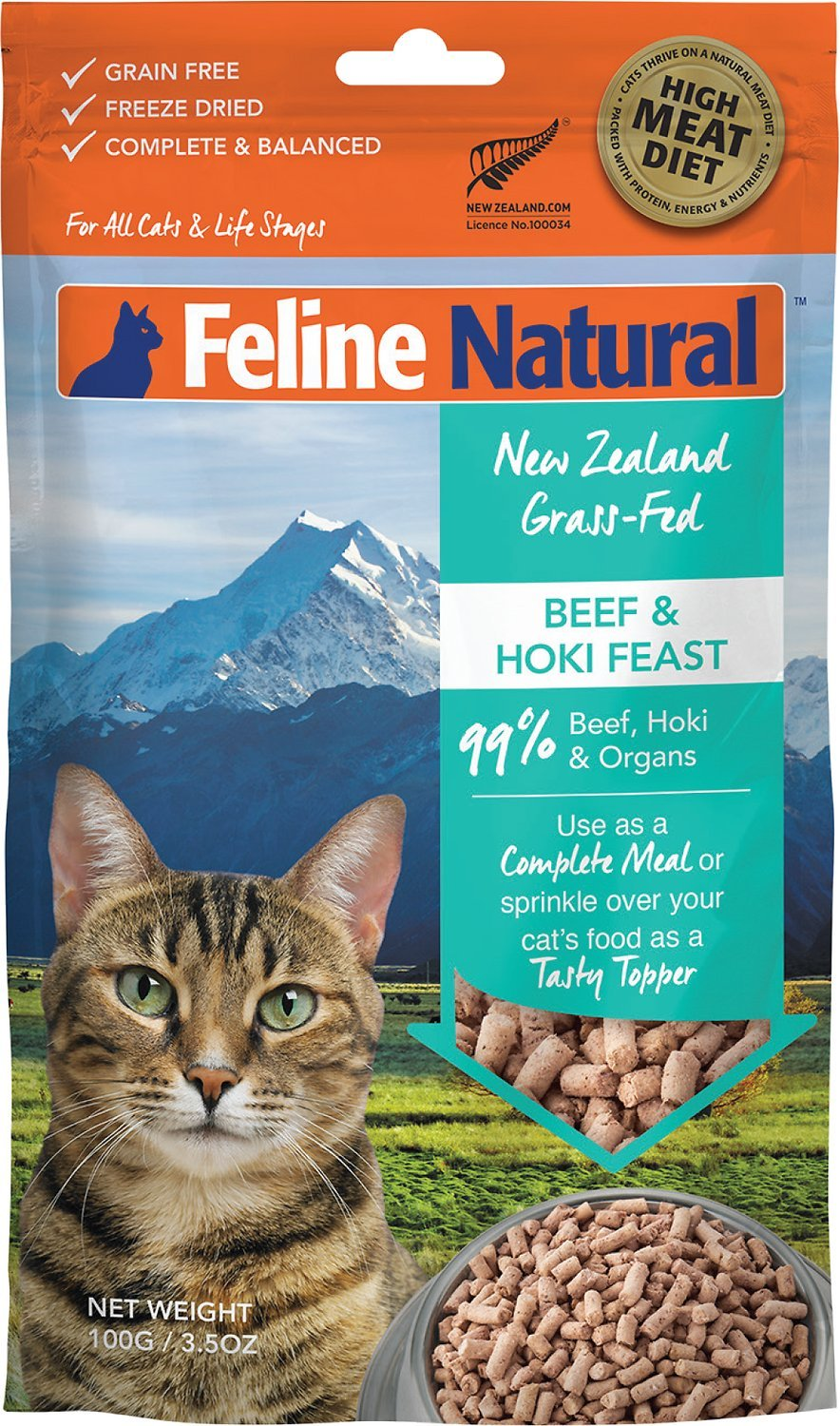 K9 Natural Feline Freeze-Dried Cat Food Beef & Hoki (Best Before date Feb 2021)