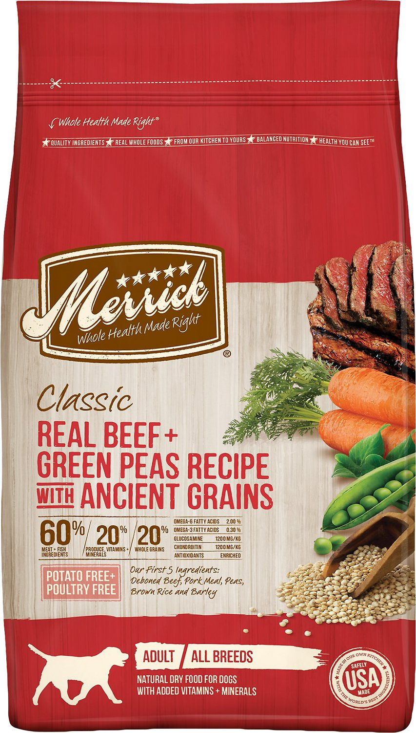 Merrick Dog Classic Beef with Green Peas & Ancient Grains (11.4kg/25lb)