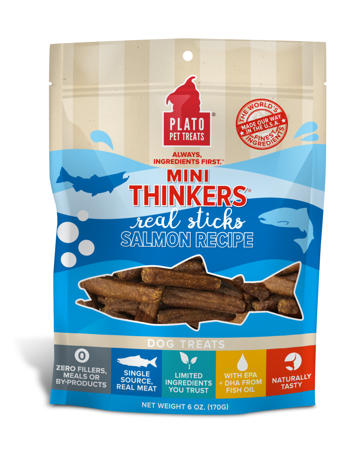 Plato Mini Thinkers Salmon Dog Treats