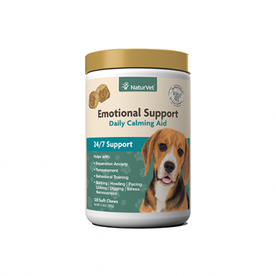 NaturVet Emotional Support Daily Calming Aid (120 Chews)