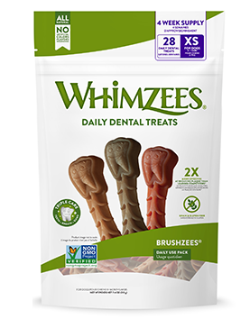 Whimzees Brushzees Daily Dental Chews for Dogs