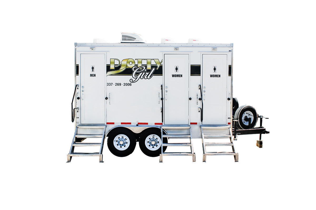 3 Station Rich Restroom Trailer Rental - PottyGirl