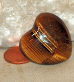 Gold Tiger's Eye Heart 17.6 gr double sided cabochon or desk stone or grid - radiantrocksct