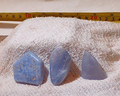 Malawi Blue Chalcedony lapidary tumbled rough 4.2 oz cabochon or facet - radiantrocksct