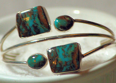 Yazzie Sterling Silver Four Royston Turquoise Cab Cuff