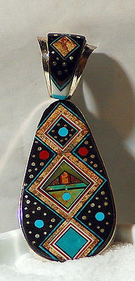 Inlay Ray Jack Navajo Sterling Silver Pendant - Double Sided - radiantrocksct