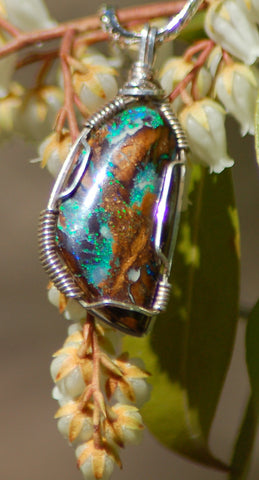 Koroit Boulder Opal Necklace Pendant Wire Wrap Sterling - radiantrocksct