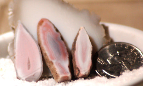 Australian Queensland agate 3 small slabs 10 grams pink grey white great banding - radiantrocksct