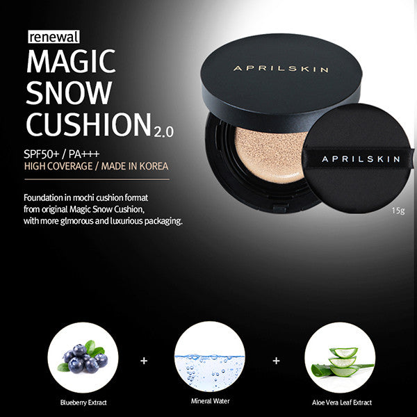 April Skin Magic Snow Cushion 2.0 [#21 Light Beige] - Hikoco - Korean Beauty, Skincare, Makeup, Products in New Zealand - 2
