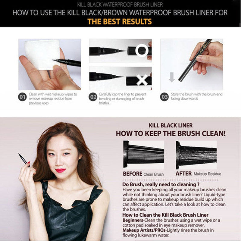 Clio Kill Black Waterproof Brush Liner [Black] - Hikoco - Korean Beauty, Skincare, Makeup, Products in New Zealand - 4