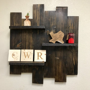 Reclaimed Wood Triple Shelf Display