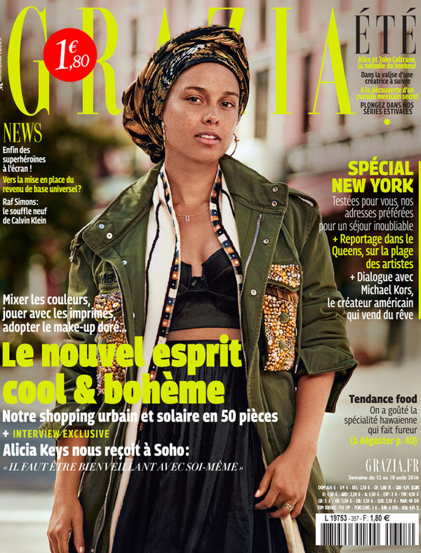 Alicia Keys with no makeup for Grazia France