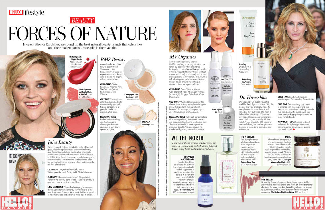 Hello Canada features MV Organic Skincare