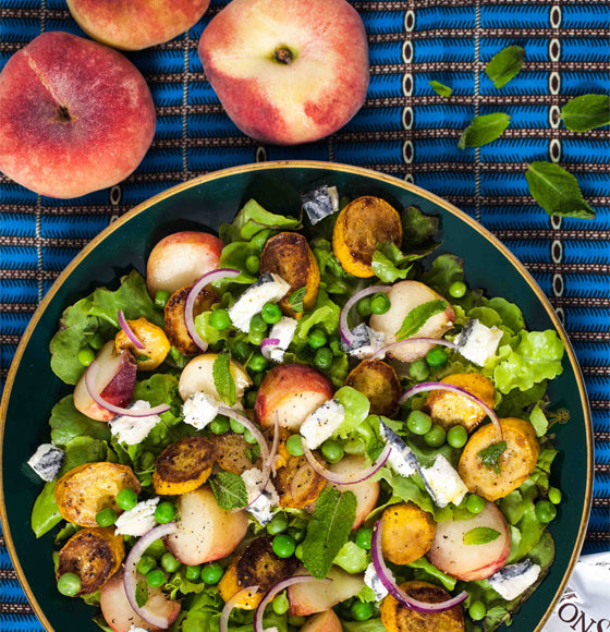 Hemsley and Hemsley Peach, Pea and Goat's Cheese Salad