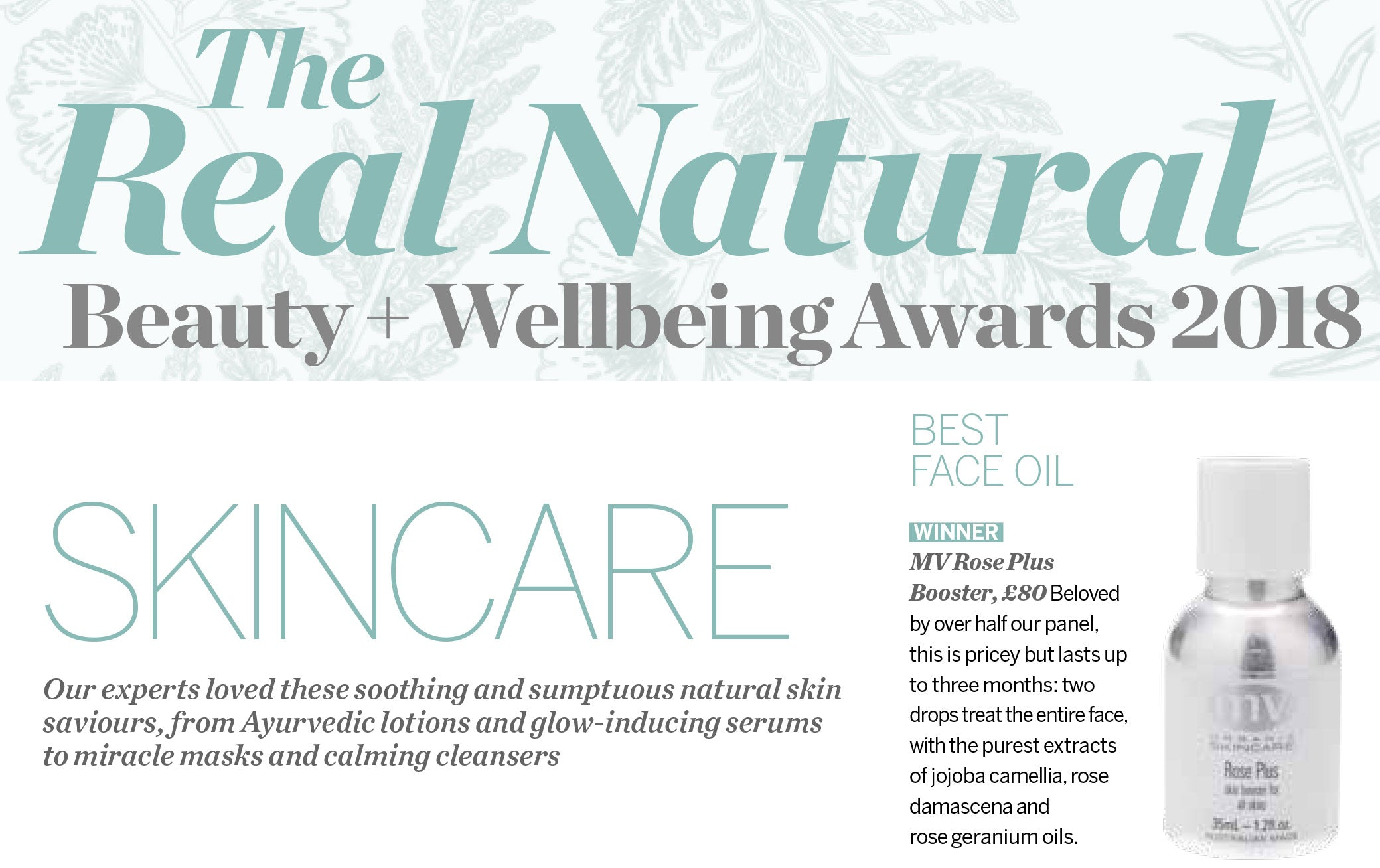 Psychologies Award-Winning MV Organic Skincare Rose Booster