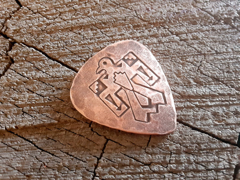 handmade copper guitar pick with thunderbird - playable