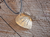 brass guitar pick necklace with snake head and small brass guitar charm