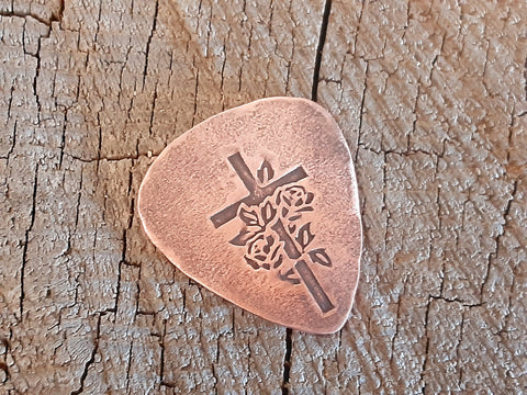 copper guitar pick - playable and collectible with cross and roses