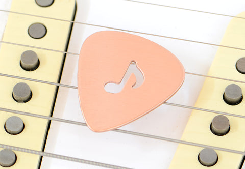 8th Note Guitar Pick in Copper with Musical Inspiration