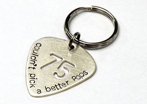 Birthday Sterling Silver Guitar Pick Keychain for a Special Musician and Dad
