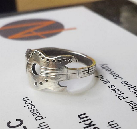 Sterling guitar ring - made to order /size