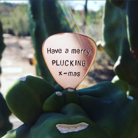 Merry Plucking X mas copper guitar pick