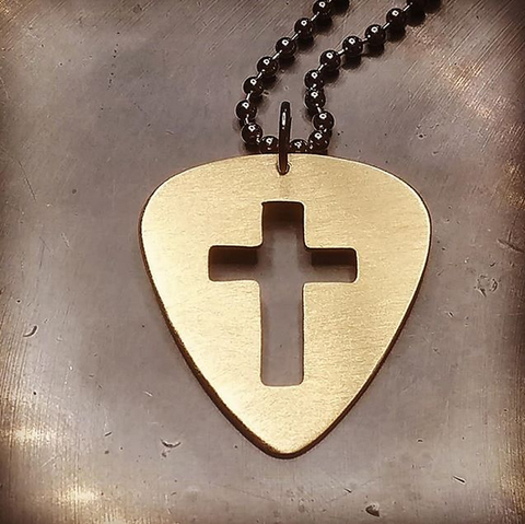 bronze pick necklace with cross cut out
