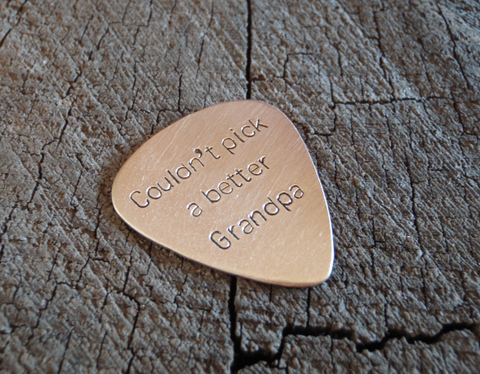 bronze guitar pick for Grandpa