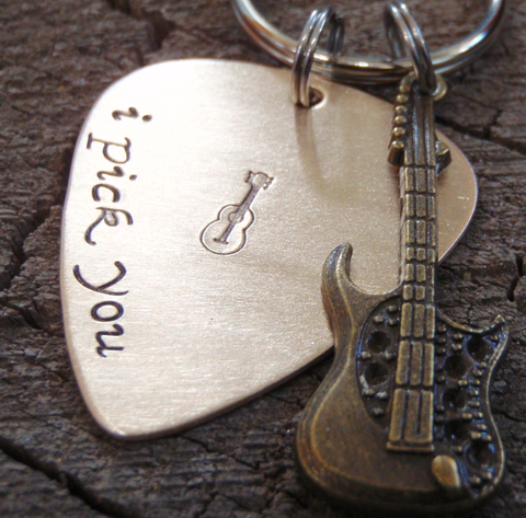 bronze guitar pick with brass guitar charm keychain