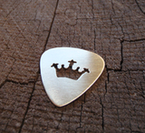 handmade bronze guitar pick with crown cut out