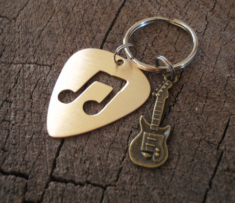 bronze pick guitar pick keyring with brass guitar