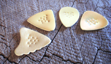 brass guitar picks - QTY 4 - mixed shapes - playable - non slip