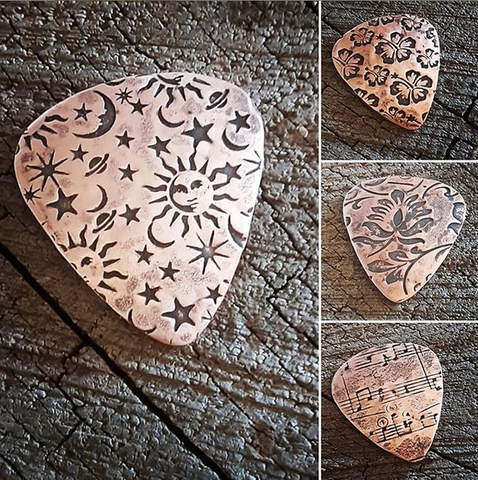 handmade copper artisan guitar pick - choose your pattern