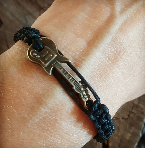 black hemp and brass guitar woven bracelet